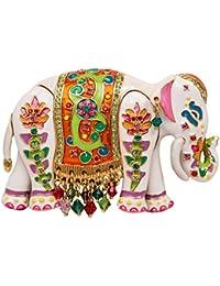 Royal Maharajah ペイント 象 ホワイト マルチカラー ピン/ペンダント (ゴールドトーン) Ritzy Couture