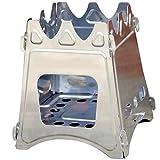 【HANABIX】ポータブル焚火コンロ Wood Stove Compact(ウッドストーブコンパクト ) <携帯に便利な組み立て式> 【収納時に汚れ移りしない専用収納バッグ付き】たき火コーヒー アウトドア 釣り ワカサギ釣り 防寒対策に キャンプで防寒、調理もできる 薪ストーブ(コンパクトタイプ) (1pc)