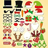 (Christmas 50pcs) - Zolee 50pcs Christmas Photo Booth Props Moustache DIY Kit - Eve Supplies Dress-up Accessories On Sticks