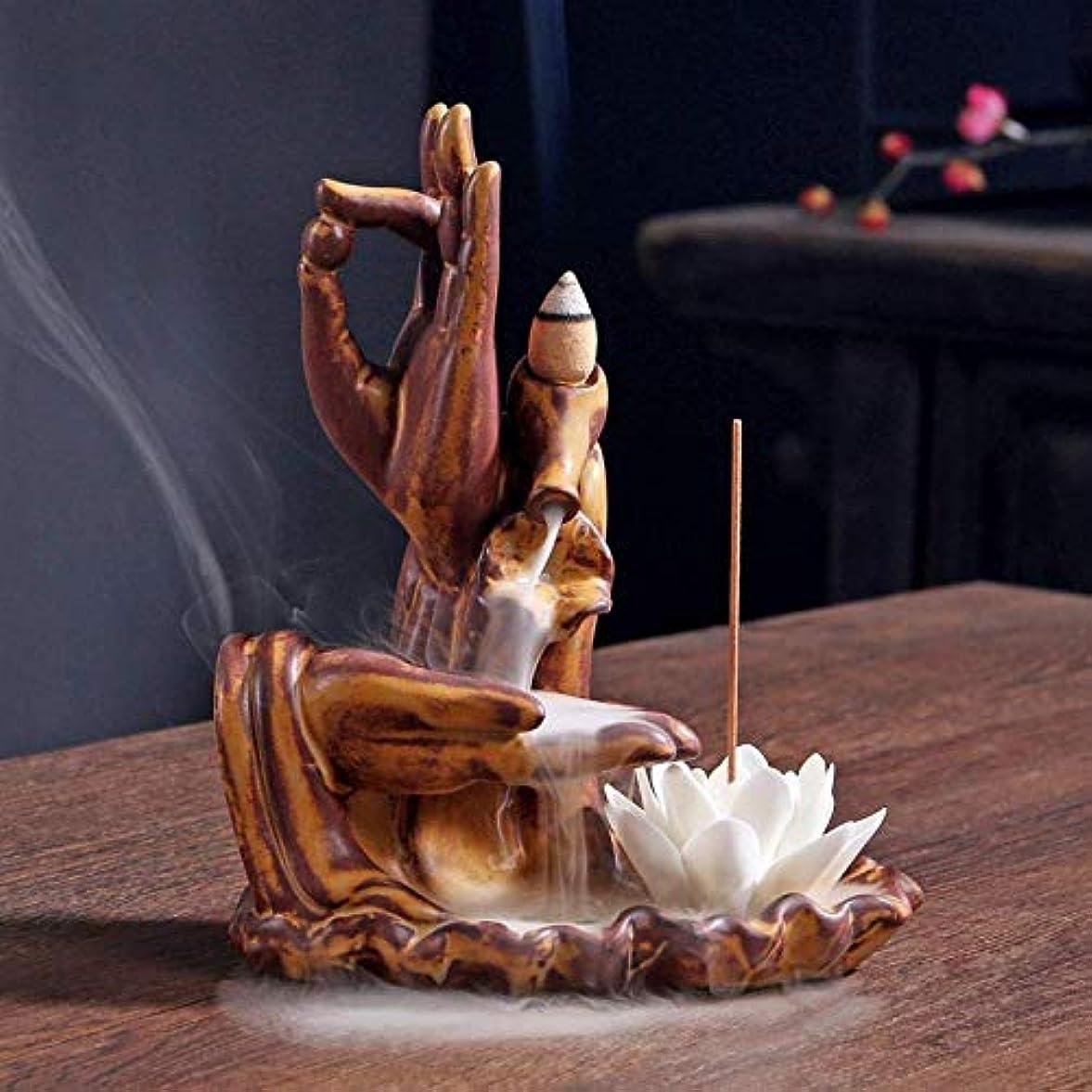 モンキー細心のロボット逆流香ホルダーセラミックホームインテリア香炉逆流香バーナーホームオフィスオーナメント仏手,Brown