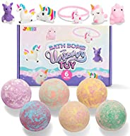 Bath Bombs for Kids with Unicorn Toys, 6 Pack Bubble Bath Bombs with Surprise Toy Inside, Natural Essential Oi