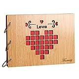 Farway アルバム 木製 スクラップブック DIY 手作り ルーズリーフ式 多様柄 リング3本付き 27*20cm (Love) [並行輸入品]