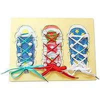 macaroni(マカロニ) くつ ひも 通し パズル 木 の おもちゃ 組み立て 遊びながら 手先 を 動かす 知育 玩具 モンテッソーリ