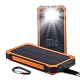 Soluser ソーラーチャージャーモバイルバッテリー 15000mAh大容量 急速充電器  iPhone/Android 2USB出力ポート LED照明 二つの充電方法 耐震 災害時/旅行/アウトドアに大活躍(オレンジ)