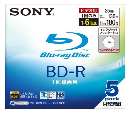 SONY 日本製 ビデオ用BD-R 追記型 片面1層25GB 6倍速 プリンタブル 5枚P 5BNR1VBPS6