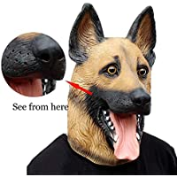 Novelty Halloween Costume Super Bowl Underdog Party Latex Dog Head Mask (German Shepherd)