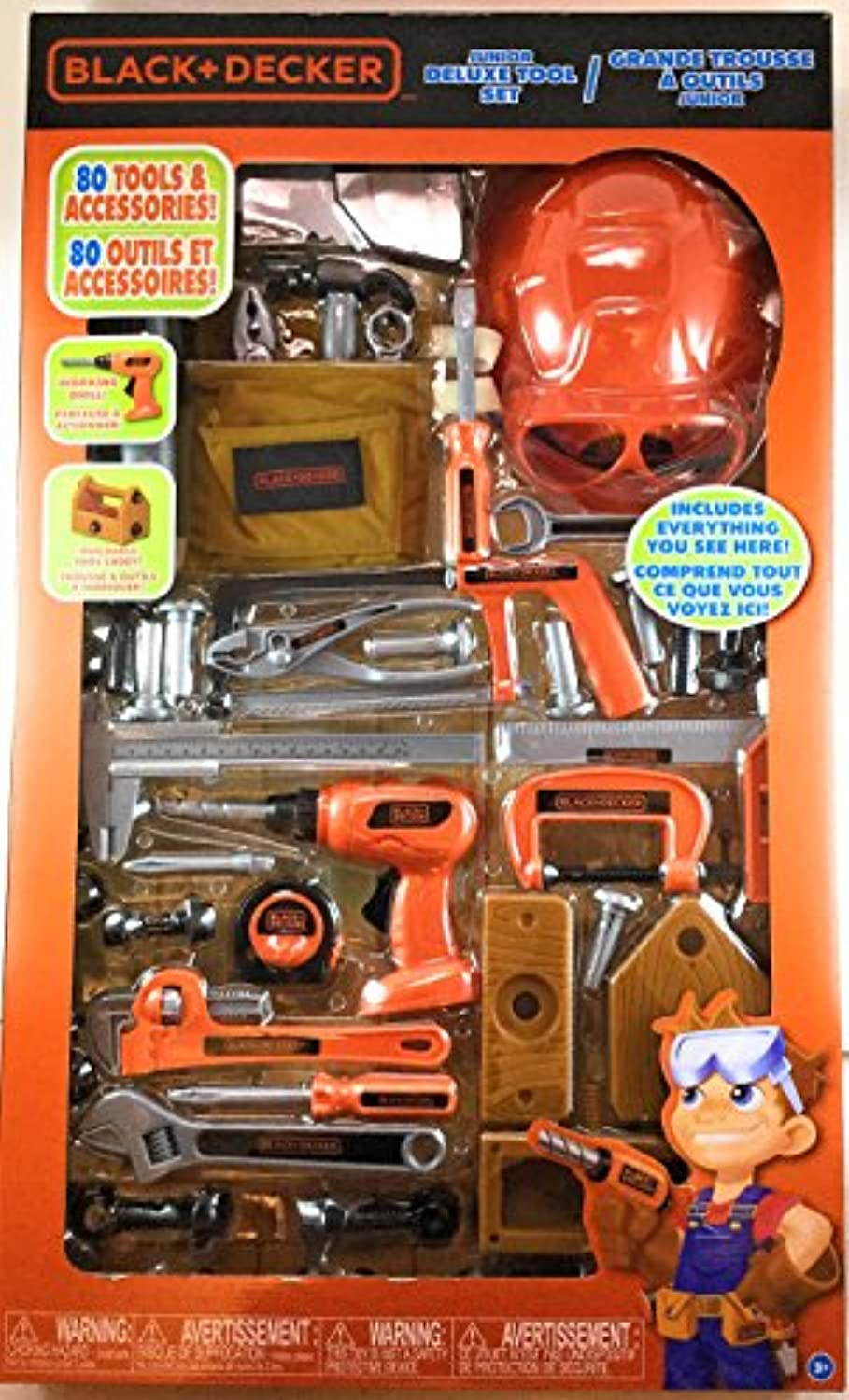 Black + Decker 80 Pieces Tools and Accessories Junior Deluxe Tool Set Kids Toys ブラックアンドデッカー ジュニア ツールセット 80ピース
