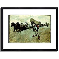 Pyle, Howard,1853-1911「The Connecticut Settlers Entering The Western Reserve.」インテリア アート 絵画 プリント 額装作品 フレーム:木製(黒) サイズ:S (221mm X 272mm)