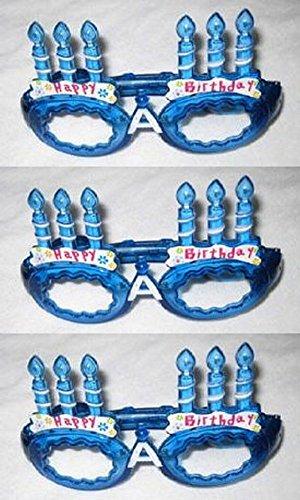 LEDハッピーバースデー(Birthday)メガネ  ブルー 3個セット
