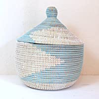 Senegal セネガル 蓋付きかご ジグザグ柄 ペールブルー×白 Aパターン