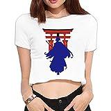 四葉のグローバー レディース 厳島神社 鳥居 武士 へそ出しTシャツ White Medium