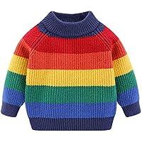 Mud Kingdom Little Boys Girls Sweater Pullover Cute Rainbow Stripe