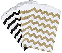 Outside the Box Papers Black and Gold Chevron Treat Sacks 5.5 x 7.5 48 Pack Black, Gold, White [並行輸入品]