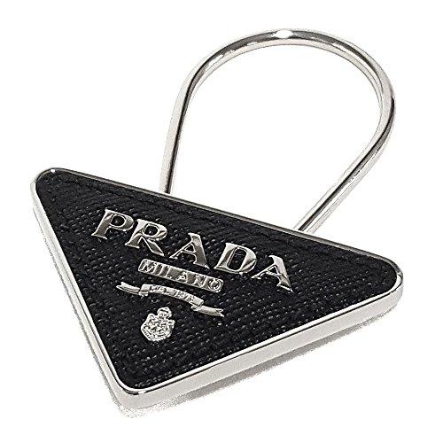 (プラダ)PRADA キーホルダー キーリング 型押しレザー×メタルロゴデザイン (ブラック) 2PP301 SAFFIANO NERO [並行輸入品]