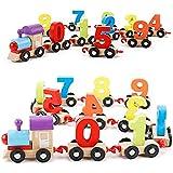 LULAA 木製玩具 列車 積み木 安全無毒 組み立て簡単 数字 数学教育玩具 子供の想像力や操作能力などに促進する プレゼント