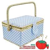 Sewkit | Large Sewing Basket Organizer with Complete裁縫キット付属アクセサリー|木製裁縫バスケットキットwith Removableトレイ、トマトピンクッションの裁縫Mending |ブルー| 220.14