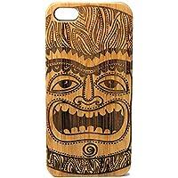 Tiki Idol iPhone 5 iPhone 5S or iPhone SE Case. Maori Mythology First Man Face. Polynesian Culture. Wooden Tiki Man EcoFriendly Bamboo Wood Cover. [並行輸入品]