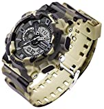 SANDA PU バンド 防水 アナデジ表示 石英 デジタル デュアルディスプレイ ミリタリー スポーツ 迷彩 ウォッチ 多機能 LED 腕時計 (イエロー)