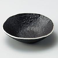 黒釉たたら風平鉢 [ φ17 x 4.4cm ] 【 向付 】 【 料亭 旅館 和食器 飲食店 業務用 】