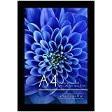 Americanflat A4 Black Picture Frame - Made to Display Pictures 21x29.7 cm (8.3x11.7 inches) - Wall Mounting Material Included