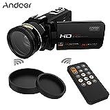 Andoer デジタル ビデオカメラ 1080P フルHD 37mm 0.45× 広角レンズ付き 最大2400万画素 16倍 デジタルズーム 回転式 3.0in - Best Reviews Guide