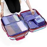 【福美康】 トラベル ポーチ 6点 セット パッキング キューブ オーガナイザー 旅行 出張 整理整頓 アレンジケース スーツケース インナー バッグ パック (パープル)