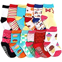 LGNTXDC 12 Pairs Unisex Baby Anti-Slip Socks, 1 to 3 Years Old Toddlers Sock Cute Design Curious with Non-skid Dots for 2T and 3T Walkers