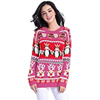 v28 Ugly Christmas Sweater, Women Girl Long Vintage Fun Knit Xmas Warm Pulli Sweater