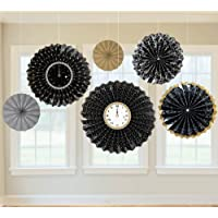 New Year's Black, Gold and Silver Paper Fan Decorations 新年、ブラックゴールド、シルバーうちわデコレーション?ハロウィン?クリスマス?