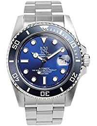 [HYAKUICHI 101] ダイバーズウォッチ 自動巻き(手巻付き) オートマチック 機械式 日付表示 200m防水 逆回転防止ベゼル 腕時計 ディープブルー メンズ