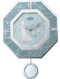 Disney (ディズニー) 掛け時計 キャラクター 電波 アナログ 振り子 アナと雪の女王 M405 【 雪の結晶 】 リズム時計 8MX405MC04