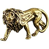 DMtse Chinese Feng Shui Brass Lion Statue Figurines for Animal Sculpture Home Office Table Top Decor Collectibles Housewarmin