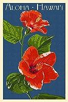 アロハハワイ–レッドハイビスカスLetterpress 24 x 36 Giclee Print LANT-52876-24x36