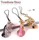 ■トロンボーン!音楽好きに音を奏でそうなスワロフスキークリスタルストラップ!トロンボーン好きに!バックや携帯、お財布に!collar3type