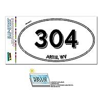 304 - アーティー, WV - ウェストバージニア州 - 楕円形市外局番ステッカー