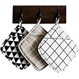 Set of 3 Large Cloth Pot Holders, Oven Mitts Set, Machine Washable and Durable Heat Resistant Pocket Mitts for Kitchen (Squar