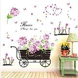 (ブルック&セリーヌ)Brooke & Celine ウォールステッカー ピンク 花 車 居間 寝室 ベッドルーム 剥がせる 壁紙 家飾り 子供部屋 壁飾り