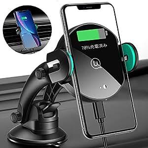 車載ホルダー,USAMS 2in1 車載ワイヤレス充電器 スマホホルダー 赤外線車載ホルダー Qi充電器 粘着ゲル吸盤&吹き出し口式 自動開閉式 10W/7.5W/5W 急速ワイヤレス充電器 360度回転 取り付かん iPhone 11/11 Pro/11 Pro Max/X/XR/XS/XS MAX/8/8 Plus、Galaxy S9 / S9+ / S8 / S8+/S10/S10+/Sony xperia xz2/xz3等に適用ワイヤレス充電機種に対応
