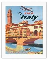 イタリア - TWA (トランス・ワールド航空)で飛ぶ - フィレンツェフィレンツェ - ビンテージな航空会社のポスター によって作成された フランク・ラカノ c.1950s - キャンバスアート - 51cm x 66cm キャンバスアート(ロール)