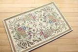 玄関マット 屋内 室内用 ゴブラン 095 ライト ベージュ サイズ 約 60×90 cm おしゃれ な 花柄 ゴブラン織り 薄型 マット 滑り止め 付き