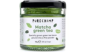 Matcha Green Tea Powder 50g(1.75oz) by PureChimp | Ceremonial Grade from Japan | Pesticide-Free | Recyclable Glass Jars & Aluminium Lid (Regular)