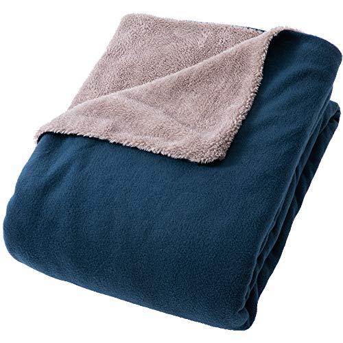 アイリスプラザ 掛け布団カバー fondan もこもこシープボア×フリース ふわもこの肌触り  リバーシブル 洗える シングル ネイビー/グレー