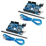 HiLetgo® 2個セット NEWバーション UNO R3 ATmega328P USB CH340G Arduinoと互換性 + USB ケーブル [並行輸入品]