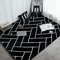 ZWD ジオメトリカーペット、黒白モダンドアマットリビングルームソファベッドルームカーペット長方形カーペット長さ45-120 cm 家庭用品