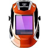 自動遮光液晶溶接面 自動感光式溶接マスク 特大スーパー自動フィルター ワイドビュータイプ 遮光速度.00003秒 ソーラー充電式溶接マスク/ 溶接ヘルメット 遮光度#9~#13可変 オレンジ