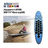 AQUAPARX スタンドアップパドルボード sup サーフボード ロングサーフボード ソフトボード SUP305 ボード 空気式 持ち運び収納便利 収納バッグ付 セット6点 ブルー BT17