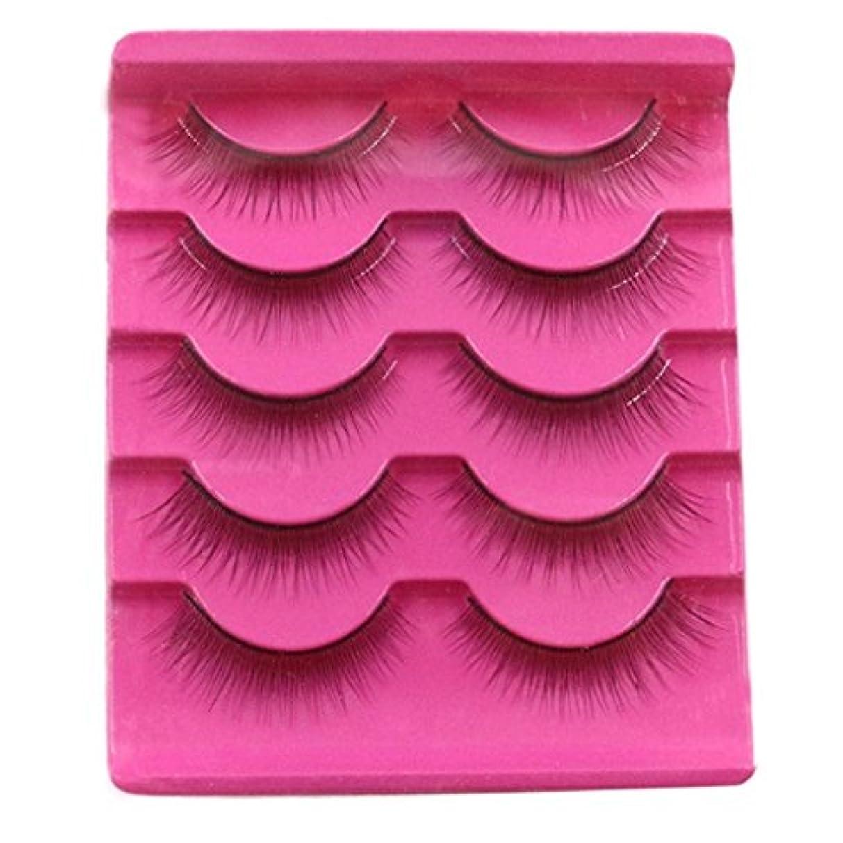 Feteso 5ペア つけまつげ 上まつげ Eyelashes アイラッシュ ビューティー まつげエクステ レディース 化粧ツール アイメイクアップ 人気 ナチュラル ふんわり 装着簡単 綺麗 極薄