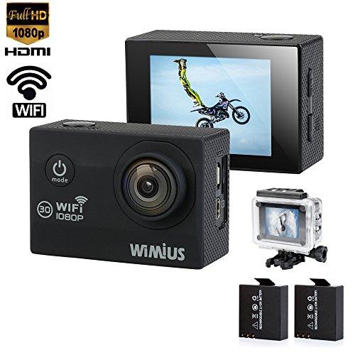 Wimius Q2 wifi 1080p ウェアラブルカメラ 12MP 2.0インチ 170°広角レンズ 30m防水 予備バッテリー アウトドアスポーツに最適 (ブラック)