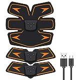 EMSIC EMS 腹筋ベルト USB充電式 腹筋 腕筋 筋トレ器具 トレーニングマシーン 「6種類モード 10段階強度 日本語説明書付属」 (オレンジ) (ブラック)