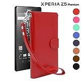 iNTAG Xperia Z5 Premium ケース 手帳型 レザー ストラップ 付き ヴィンテージ Vintage Leather Strap Diary Case (手帳 カバー カード収納 スタンド機能) レッド iN-VTGSTz5pr-RD